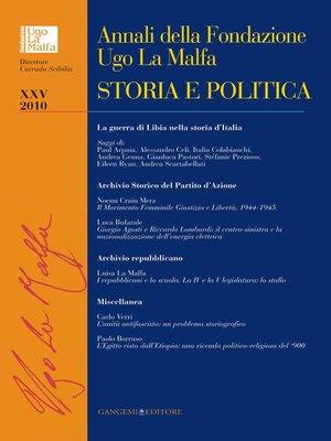 cover image of Annali della Fondazione Ugo La Malfa XXV--2010