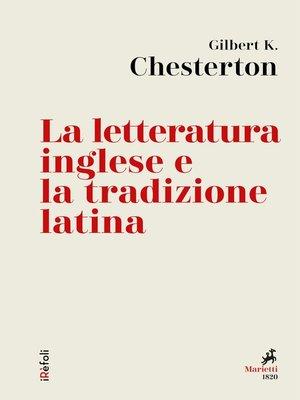 cover image of La letteratura inglese e la tradizione latina