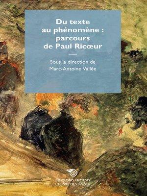 cover image of Du texte au phénomène