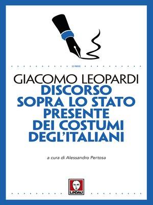 cover image of Discorso sopra lo stato presente dei costumi degl'Italiani
