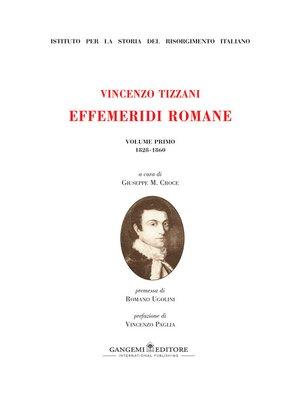 cover image of Vincenzo Tizzani. Effemeridi Romane