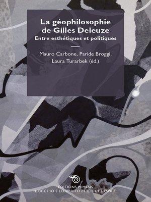 cover image of La géophilosophie de Gilles Deleuze