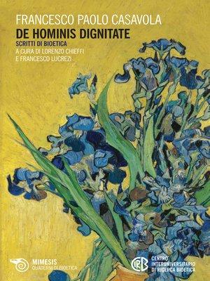 cover image of De hominis dignitate