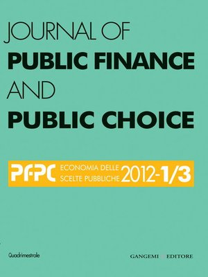 cover image of Journal of Public Finance and Public Choice n. 1-3/2012