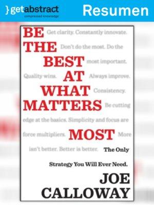 cover image of Sea el mejor en lo que más importa (resumen)