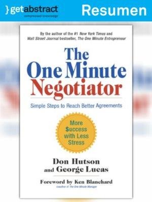 cover image of El negociador al minuto (resumen)