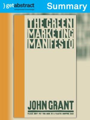 cover image of The Green Marketing Manifesto (Summary)