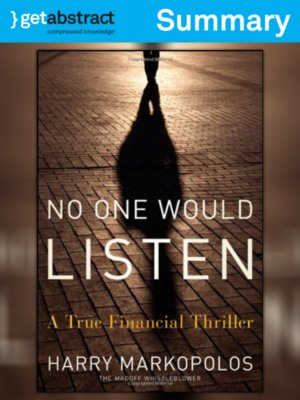 cover image of No One Would Listen (Summary)