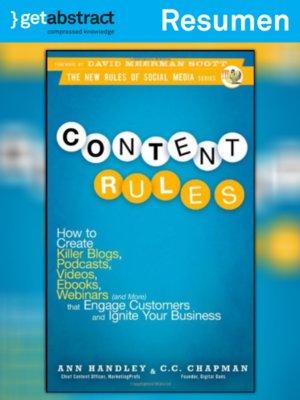 cover image of Reglas para generar contenidos (resumen)
