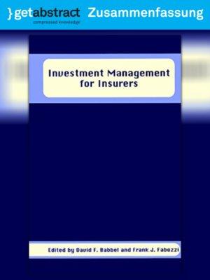 cover image of Investitionsmanagement für Versicherungsunternehmen (Zusammenfassung)