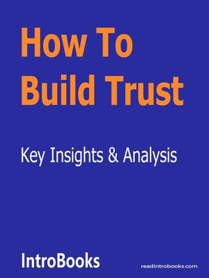 cover image of How to Build Trust