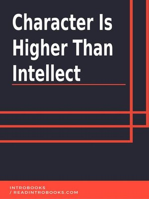 cover image of Character is Higher Than Intellect