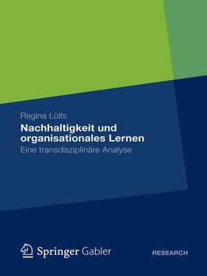 cover image of Nachhaltigkeit und organisationales Lernen