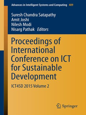 cover image of Proceedings of International Conference on ICT for Sustainable Development