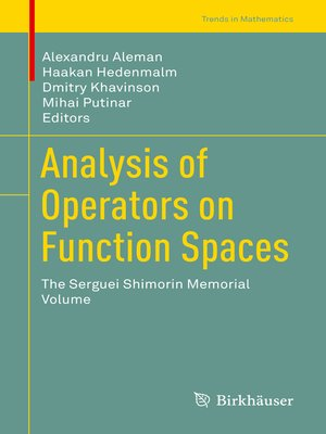 cover image of Analysis of Operators on Function Spaces
