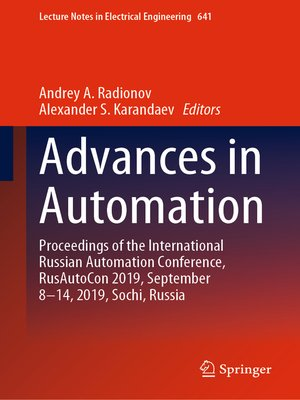 cover image of Advances in Automation