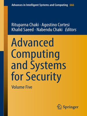 cover image of Advanced Computing and Systems for Security