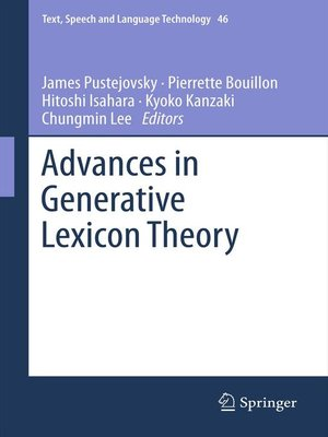 cover image of Advances in Generative Lexicon Theory