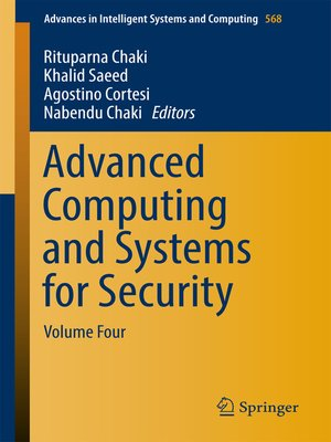 cover image of Advanced Computing and Systems for Security, Volume 4