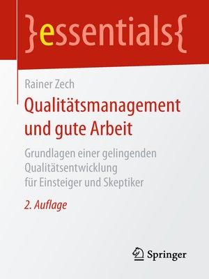 cover image of Qualitätsmanagement und gute Arbeit