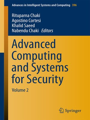 cover image of Advanced Computing and Systems for Security, Volume 2