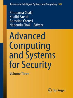cover image of Advanced Computing and Systems for Security, Volume 3