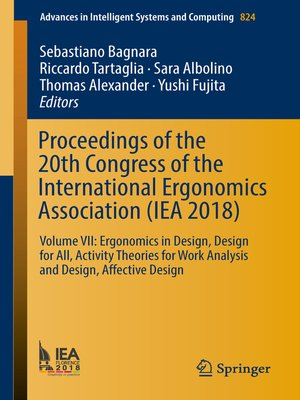cover image of Proceedings of the 20th Congress of the International Ergonomics Association (IEA 2018)