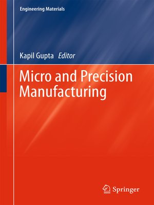cover image of Micro and Precision Manufacturing