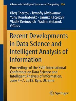 cover image of Recent Developments in Data Science and Intelligent Analysis of Information