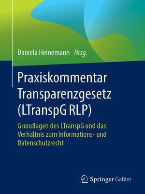 cover image of Praxiskommentar Transparenzgesetz (LTranspG RLP)