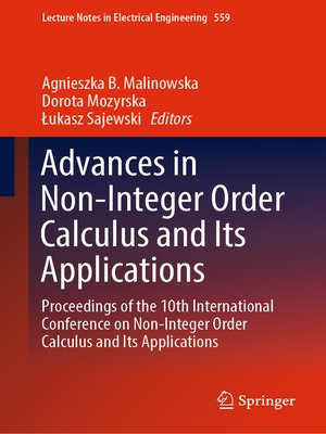 cover image of Advances in Non-Integer Order Calculus and Its Applications