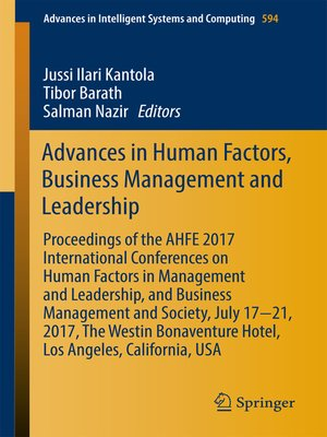 cover image of Advances in Human Factors, Business Management and Leadership