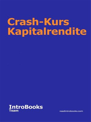 cover image of Crash-Kurs Kapitalrendite