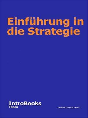 cover image of Einführung in die Strategie