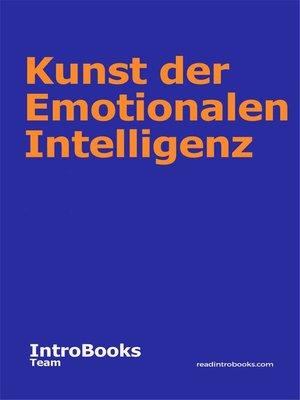 cover image of Kunst der Emotionalen Intelligenz