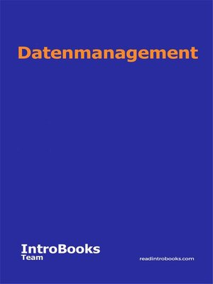 cover image of Datenmanagement