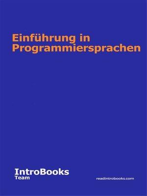 cover image of Einführung in Programmiersprachen