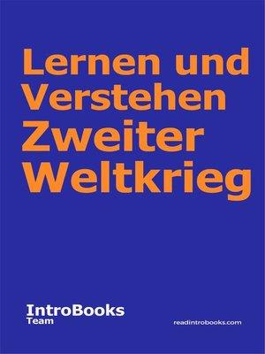 cover image of Lernen und Verstehen Zweiter Weltkrieg