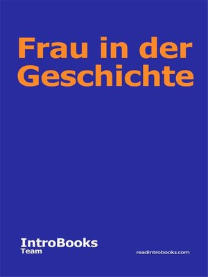 cover image of Frau in der Geschichte
