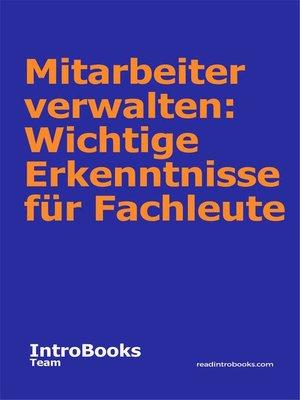 cover image of Mitarbeiter verwalten