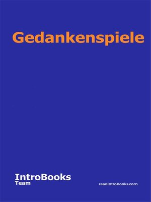 cover image of Gedankenspiele