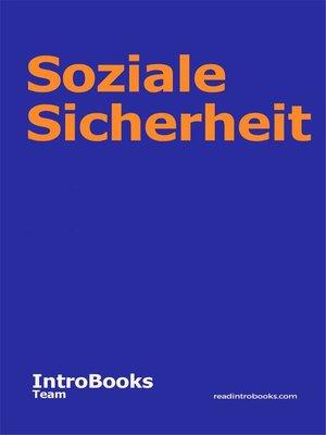 cover image of Soziale Sicherheit