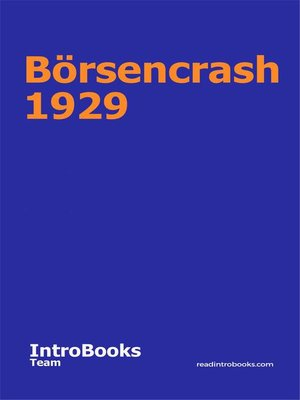 cover image of Börsencrash 1929