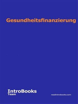 cover image of Gesundheitsfinanzierung