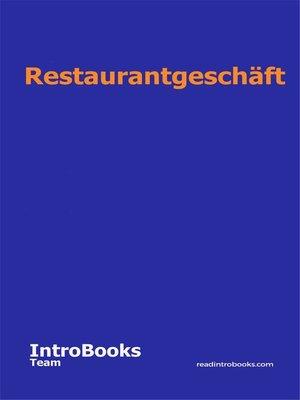 cover image of Restaurantgeschäft