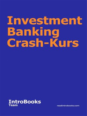 cover image of Investment Banking Crash-Kurs