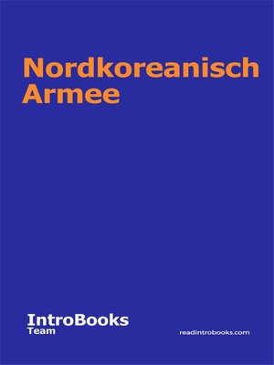 cover image of Nordkoreanisch Armee