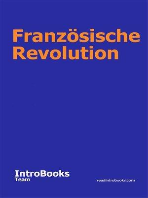 cover image of Französische Revolution