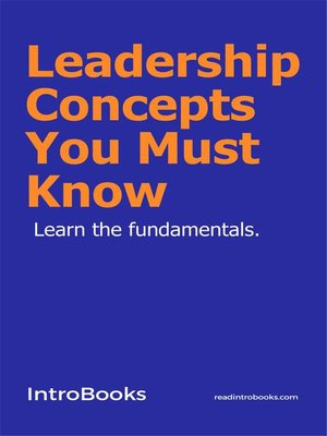 cover image of Leadership Concepts You Must Know
