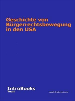 cover image of Geschichte von Bürgerrechtsbewegung in den USA
